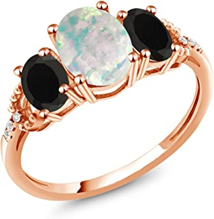 Gem Stone King 1.87 Ct Cabochon Simulated Opal Black Onyx 10K Rose Gold Diamond Accent Ring