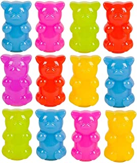 Kicko Gummy Bear Slime - Pack of 12 Neon Gooey Slimes in a Gummy Bear Shaped Container - Good For Party Favors, Kids, Squishing and Squashing, Stress Reliever