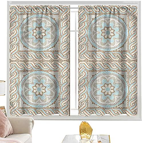 Cortinas con bolsillo para barra, diseño de mosaico, diseño floral de azulejos de 52 x 84 pulgadas, cortinas opacas para dormitorio