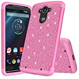 customerfirst for Motorola Droid Turbo, Droid Turbo 1st Generation, XT1254 Cute Liquid Glitter Flowing Sparkle Hearts Floral Fairy Dust Shockproof Protective TPU Case [Free Emoji Keychain!] (Pink)