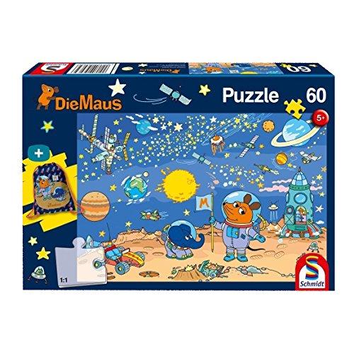 Schmidt Spiele 56265 56265-Die Maus, Kinderpuzzle mit Turnbeutel, 60 Teile, bunt