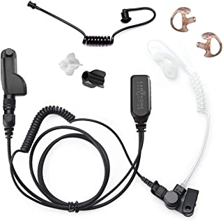 Radio Earpiece for Motorola APX Series, EP1334QR-PTT Quick Release Hawk Lapel Mic, Police Surveillance Headset, Includes E...