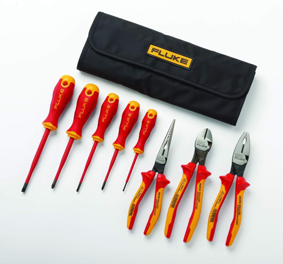 Kit básico de herramientas de mano aisladas: 5 destornilladores aislados y 3 alicates aislados, 1000 V