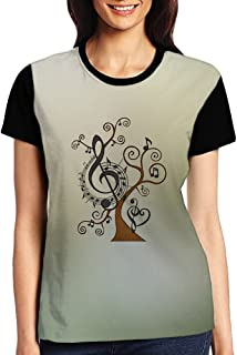 Music Tree With Treble Clefs Notes Women Summer T-Shirt Short Sleeve Tees