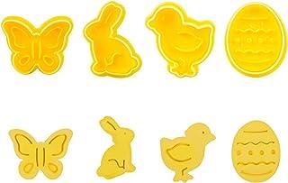 Stampo per biscotti, set 4 pezzi formine per biscotti pasquali, farfalla coniglio pulcino forma uovo di pasqua cottura bis...