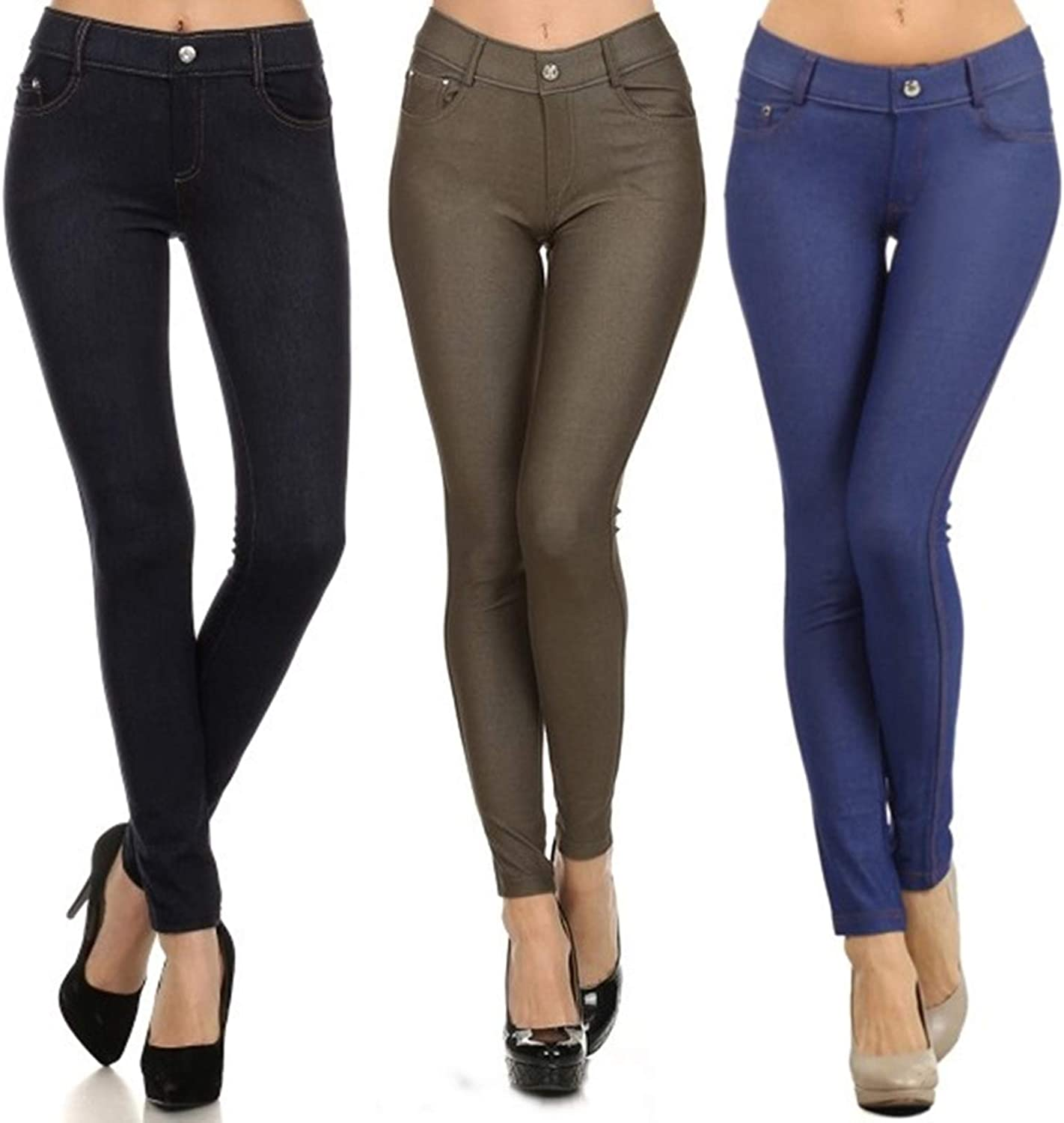 Yelete Multi Solid Color Jeggings for Women Soft and Stretchy Legging