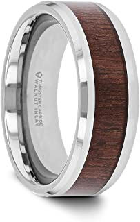 Halifax | Tungsten Rings for Men | Tungsten | Comfort Fit | Wedding Ring Band with Smooth Bevels and Black Walnut Wood Inlay - 8mm