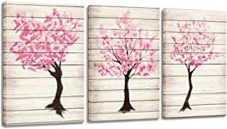 sechars - 3 Piece Canvas Prints Wall Art Japanese Cherry Blossoms Tree Painting Modern Wall Decor Home Decoration Abstract Pink Flower Art Prints Stretched Giclee Print Ready to Hang (Pink)