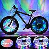 2 Pack LED Bike Wheel Lights Cycling Hub Lights Waterproof USB Rechargeable Wheel Tire Safety Warning Lights Decoration Bicycle Accessories Lights