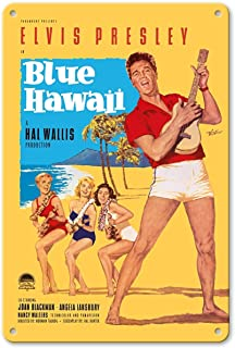 "Aluminum Sign, Metal Sign, 7"" x 10"" Vintage Tin Sign - Elvis Presley in Blue Hawaii by Rolf Goetze Retro Sign"