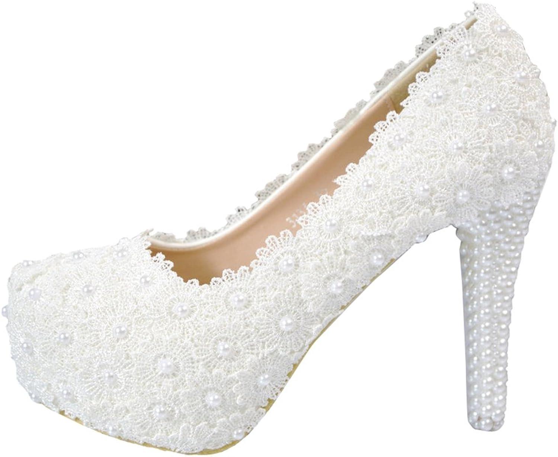 TDA Women's Charming Lace Wedding Party Dress Stiletto Pumps