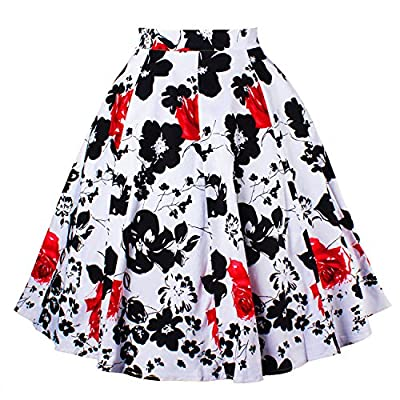 Walant Women Pleated Vintage Retro High Waisted A-line Floral Print Skirts
