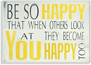 The Stupell Home Décor Collection Be So Happy Typography Wall Plaque, 10 x 0.5 x 15,..