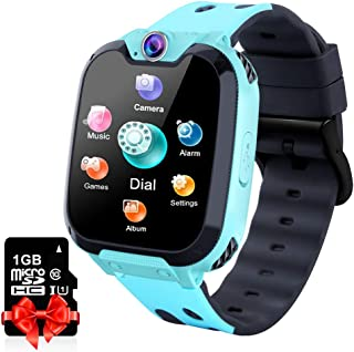 Kids Smart Watch Music Player with SD Card HD Touch Screen Sports Smartwatch Games Two-Way Call Camera Recorder Alarm Clock Music Player Calculator for Birthday Gift Toys Children Boys Girls (Blue)