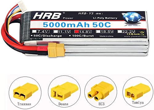HRB 5000mAh 14.8V 50C 4S Lipo Akku Pack XT60 for FPV Racing Quadcopters Diverse Racing Cars Helikopter Flugzeuge und ModellStiefele (EC3 Deans Traxxas Tamiya