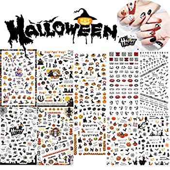 Kaychan Halloween Nail Decals Stickers DIY Nail Art Tips Stencil for Halloween Party Include Pumpkin/Bat/Ghost/Witch etc 10pcs