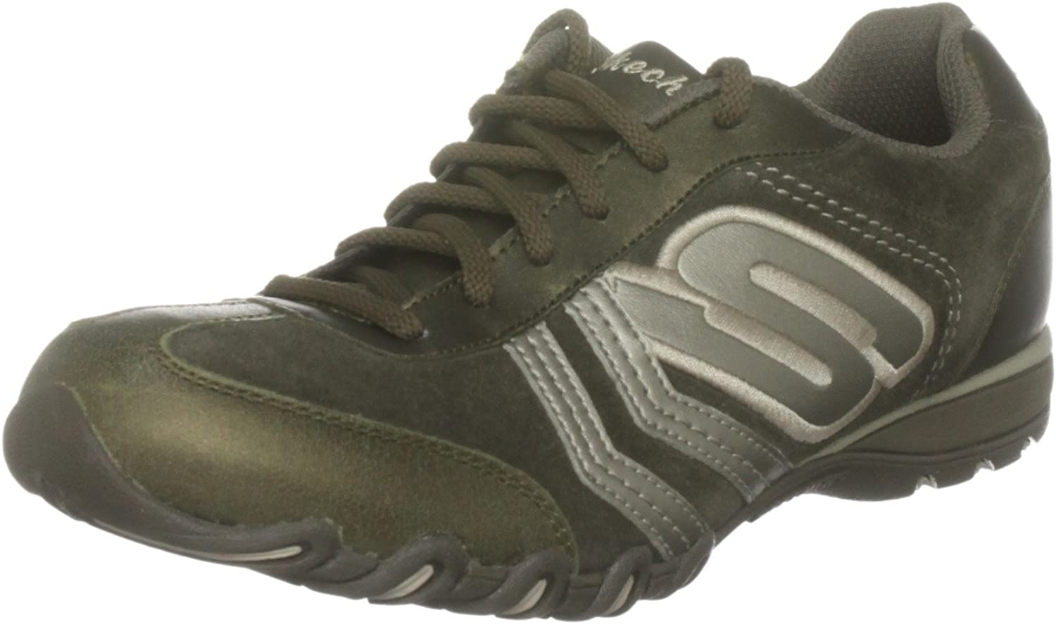 Skechers Women's Leather Fashion-Sneakers 4 UK Olive