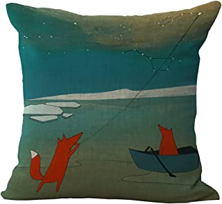 ChezMax Fox Animal Stuffed Cushion Cotton Linen Throw Pillow Insert Square for Living Family Bed Dinning Drawing Room Decorative