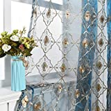 Aside Bside Vintage Sheer Curtain Embroidered Beaded Lace Voile Draperies Rod Pocket Panel for Living Room Bedroom Dining Room(1 Panel, Blue Bottom with Light Brown Embroidered, W 50 x L 84 inch)