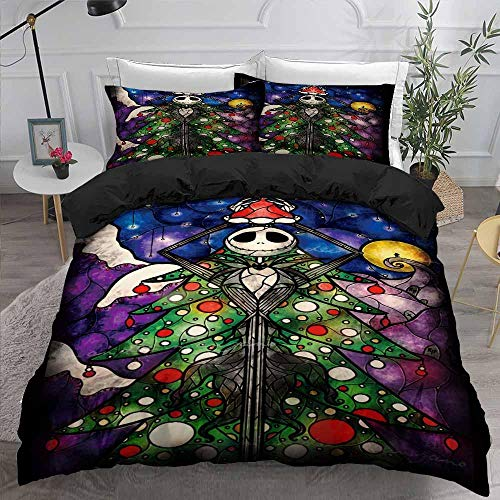 AHJJK Duvet cover set 79 x 79 inchHalloween figures 3D Printed Microfiber Bedding Duvet Cover with 2x Pillowcases & Zipper Closure Quilt Case for Boy Girl Single Double King Bed