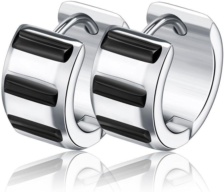 Weiwei Men's Earrings Men's Ear Nails Electroplated Black Titanium Steel Earrings Stainless Steel Ear Buckle Allergy Birthday Gift to Send Friends 13mm7mm