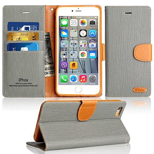 iPhone 7 Plus Hülle, IPHOX PU Leder Tasche für iPhone 7 Plus Handyhülle im Bookstyle mit Magnet Kartenfächer Standfunktion, Grau(Jeans)