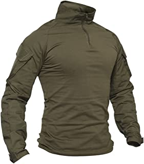 TACVASEN Men's Military Rapid Assault Slim Fit Pullover Long Sleeve 1/4 Zip T-Shirt