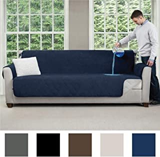 MIGHTY MONKEY Premium Slip and Water Resistant X-Large Oversized Sofa Slipcover, Seat Width Up to 78 Inch, Oeko Tex Certified, Suede-Like, Absorbs 6 Cups of Water, Cover for Couches, Sofa, Denim Blue