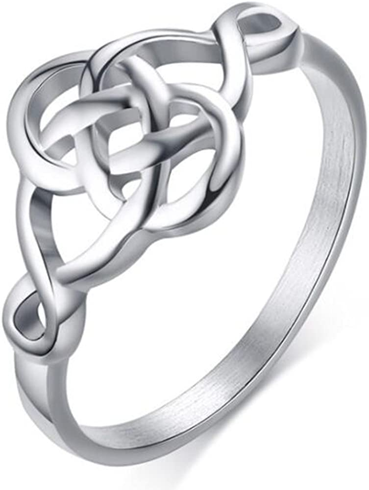 Stainless Steel Plain Classical Celtic Love Knot Wedding Promise Anniversary Ring