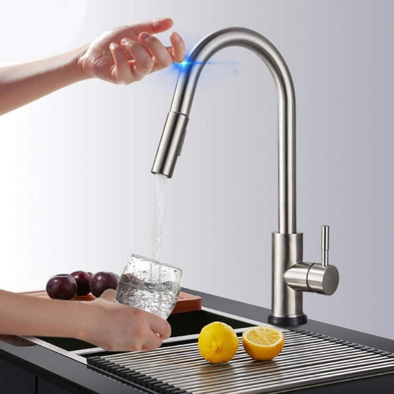 Mzdpp Ziehen Sie Sensor Küchenhahn Edelstahl Sensitive Touch Control Wasserhahn Mischer Für Küche Touch Sensor Küchenmischbatterie FT-556
