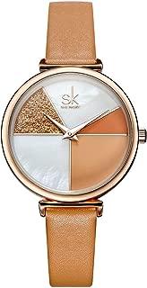 Women Watches Leather Band Luxury Quartz Watches Girls Ladies Wristwatch Relogio Feminino Mother Daughter Gift (0109 Brown)