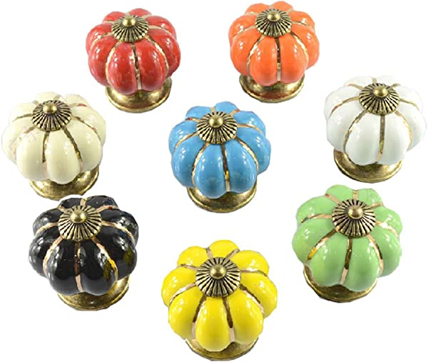 Set Of 8 40mm Colorful Ceramic Cabinet Knob Drawer Pull Handle 8 Colors