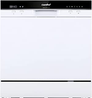 COMFEE' Table Top Dishwasher TD802 Compact Dishwasher with 8 Place Settings, 7 Programmes, LED Display, Delay Start and Off-peak Wash Function