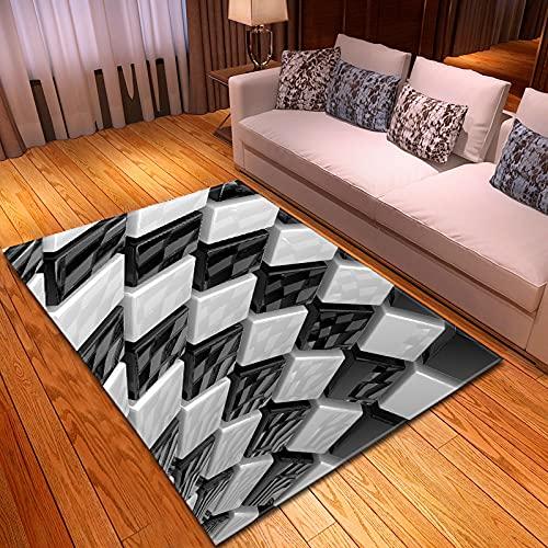 YDyun Alfombra Antideslizante Muy Suave, Lavable, al Aire Libre Interior Alfombra de Sala de Estar Cuadrada Creativa 3D