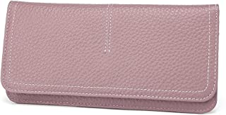 Thin Wallet Long Bifold Leather Purse Minimalist Clutch Card Holder with Zipper Pocket for Women and Men