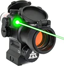AT3 LEOS Red Dot Sight with Integrated Red or Green Laser Sight - 2 MOA Red Dot Scope with Flip Up Lens Caps
