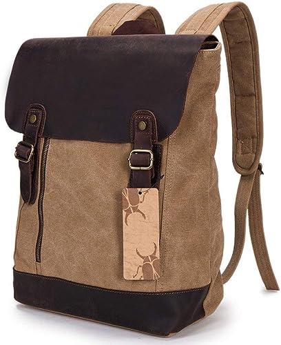 MDD Schulter Canvas Student Bag Outdoor- raum-Reisetasche M er und Frauen Rucksack Portable Travel Anti-Theft Leicht und bequem Sch im Aussehen Wild,Braun