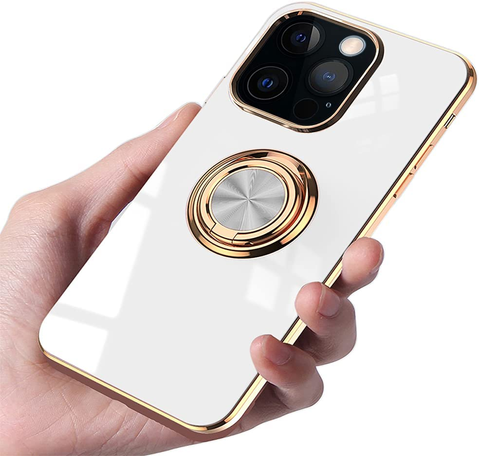 Burmcey Compatible with iPhone 13 Pro Max Case 6.7 in, Soft Silicone TPU Edge Plating 360 Degree Rotation Ring Holder Kickstand Protective Anti-Scratch Cover Work with Magnetic Car Mount - White