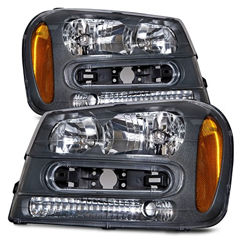 HEADLIGHTSDEPOT Halogen Headlights Compatible With Chevrolet Trailblazer 2002-2009 Includes Left Driver and Right Passenger Side Headlamps