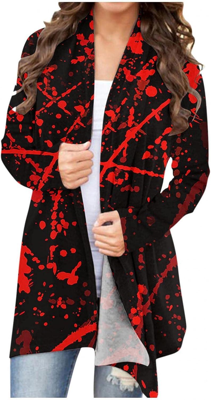 Masbird Womens Halloween Cardigan, Womens Cute Long Sleeve Open Front Pumpkin Ghost Lightweight Coat Plus Size Tops