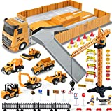 Construction Truck Car Toys Set for Boys Girls, Tractor with Matchbox Bulldozer, Forklift, Steamroller, Dump, Cement Mixer, Excavator, Engineering Crane, Christmas Birthday Gifts for 3+ Years Old Kids