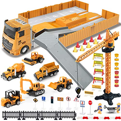 Construction Truck Car Toys Set for Boys, Tractor with Matchbox Bulldozer, Forklift, Steamroller, Dump, Cement Mixer, Excavator, Engineering Crane, Christmas Birthday Gifts for 3 4 5 6 Years Old Kids