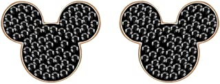 Crystal Authentic Mickey & Minnie Pierced Earrings, Black, Rose Gold Plated - High Class Stone Studded Fancy Jewelry and Elegant Fashion Accessories - Women's Wedding and Cocktail Jewelries