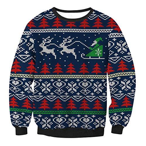Sudaderas Navideñas Unisex Sudadera Navidad Estampadas Jersey Hombre Mujer Sueter Navideño Reno Sweaters Pullover Cuello Redondo Largas Chica Oversize Anchas Deportivas Invierno Personalizadas M