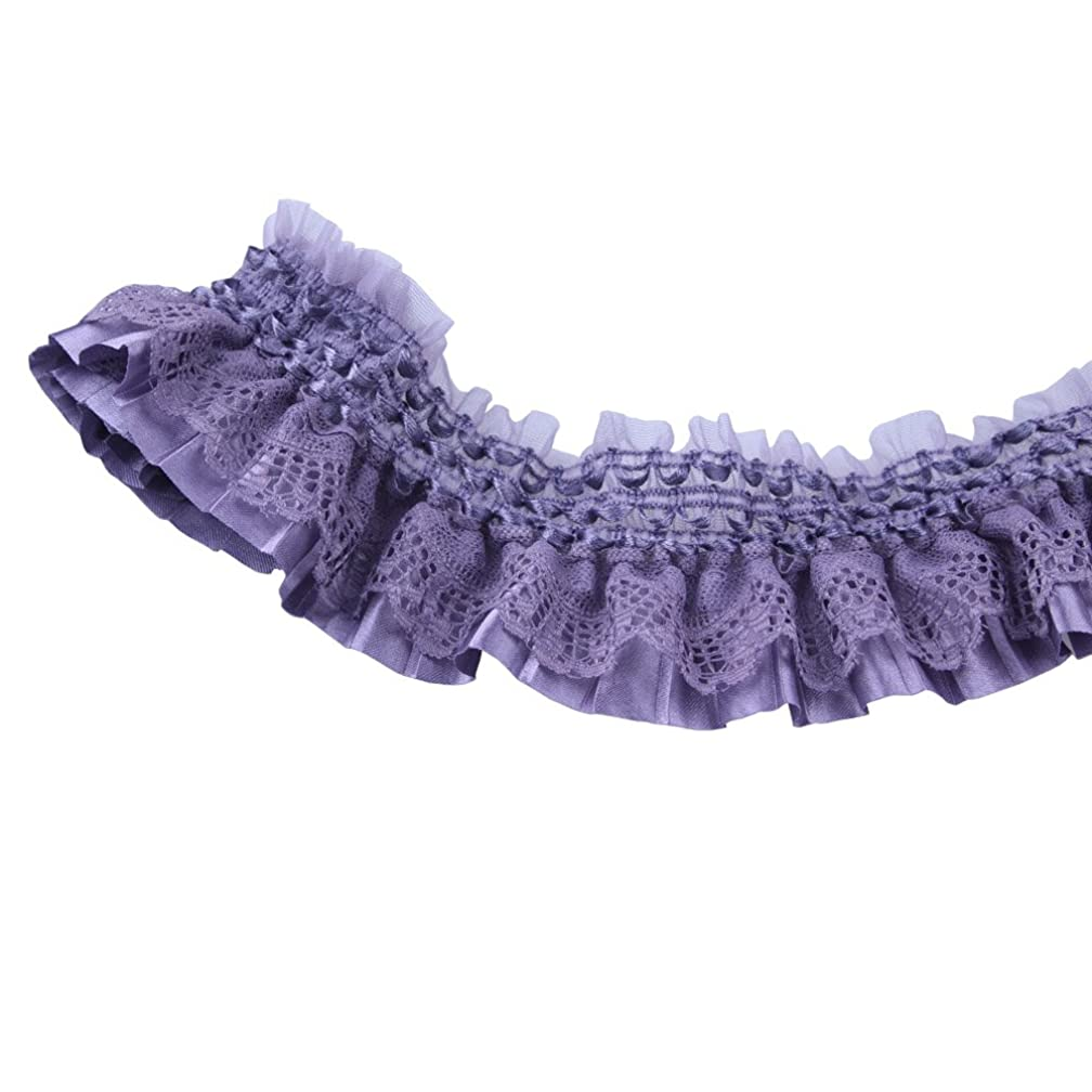Purple Lace Gathered Elastic Pleated Satin Ribbon Trim