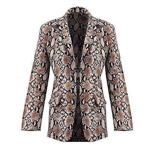 EIJFKNC Jacke Mantel Women's Blazer Snake Print Long Sleeve Suit Coat Biker Jacket Outwear Top Womens Blazer Suit Jacket Women Suit Clothing,Khaki,L