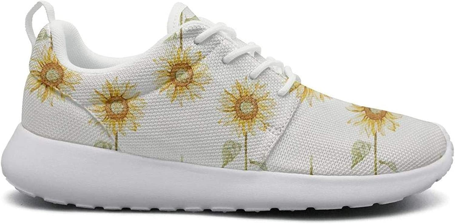 FEWW11 Women Funny Lightweight shoes Sneakers Faux Shelled Sunflowers Breathable Gym Lace-Up