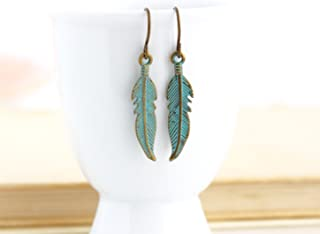 Green Brass Feather Earrings With Brass Ear Wires