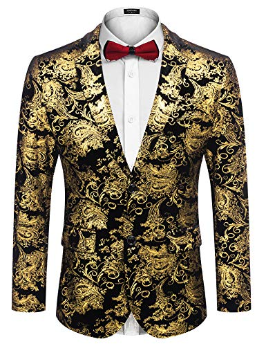COOFANDY Men Luxury Paisley Floral Suit Jacket Blazer Wedding Prom Party Tuxedo