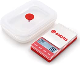 Mini Kitchen Scale 1000g x 0.1g + Oven Safe Collapsible Silicone Container w/Silicone Lid 600ML + Built in Timer - MAXUS MATE1000 Portable Digital Scales 35oz x 0.01oz Red & White